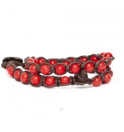 Bracciale Tamashii Lungo agata rosso passione bhs600-124