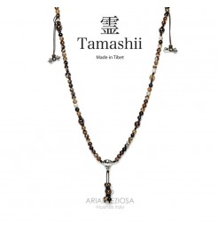 COLLANA TAMASHII MUDRA AGATA MARRONE STRIATA NHS1500-94