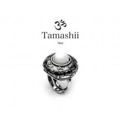 Anello Tamashii rig zva RHS905-14 argento e agata bianca