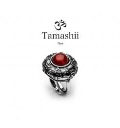 Anello Tamashii rig zva RHS905-124 argento e agata rossa