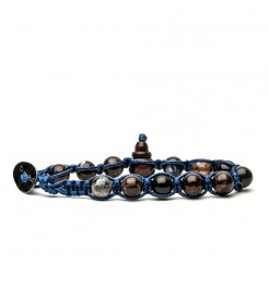 Bracciale Tamashii agata marrone cracked blue900-154