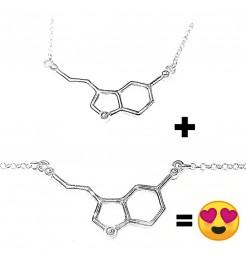 Kit Serotonina collana e bracciale molecola della felicità