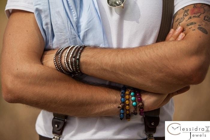 bracciale tamashii tibetano agata azzurra unisex